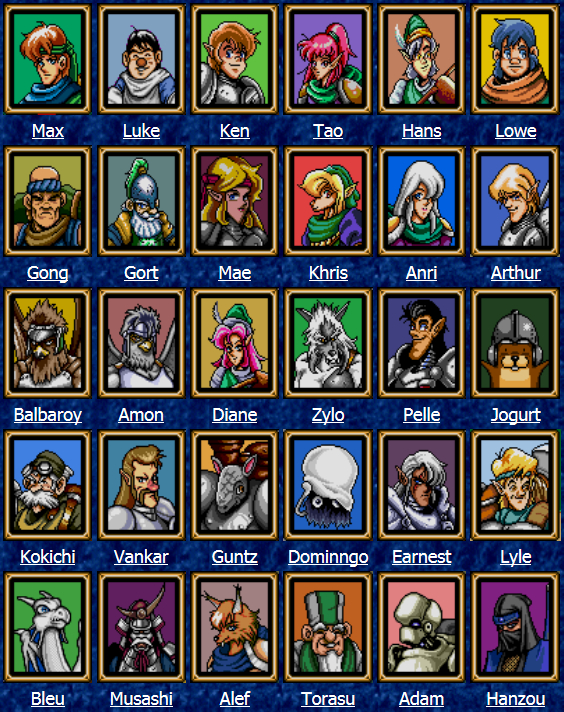Shining Force - Characters